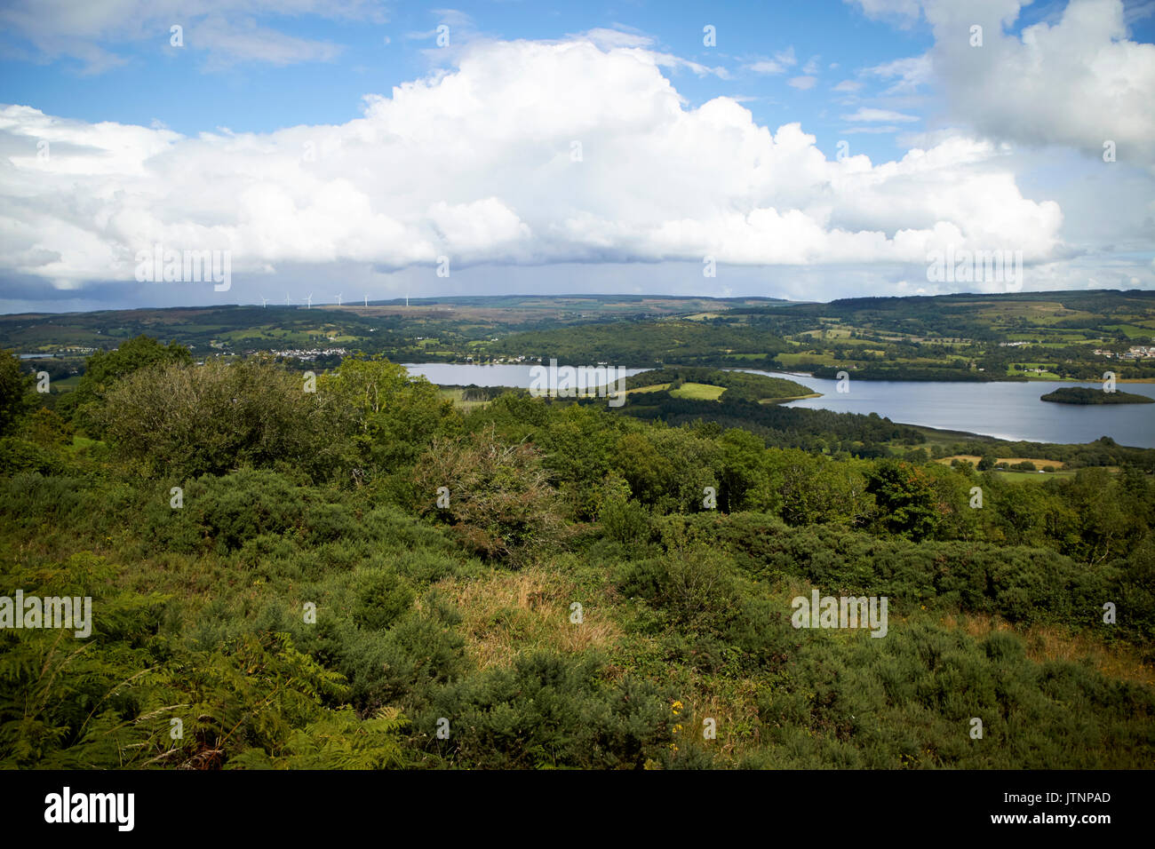 marlbank viewpoint over lough macnean scenic loop drive county fermanagh border country northern ireland - Stock Image