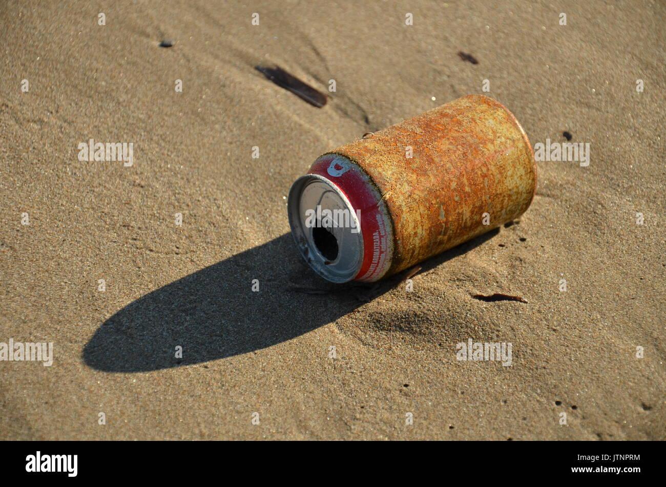 trash on a beach Stock Photo