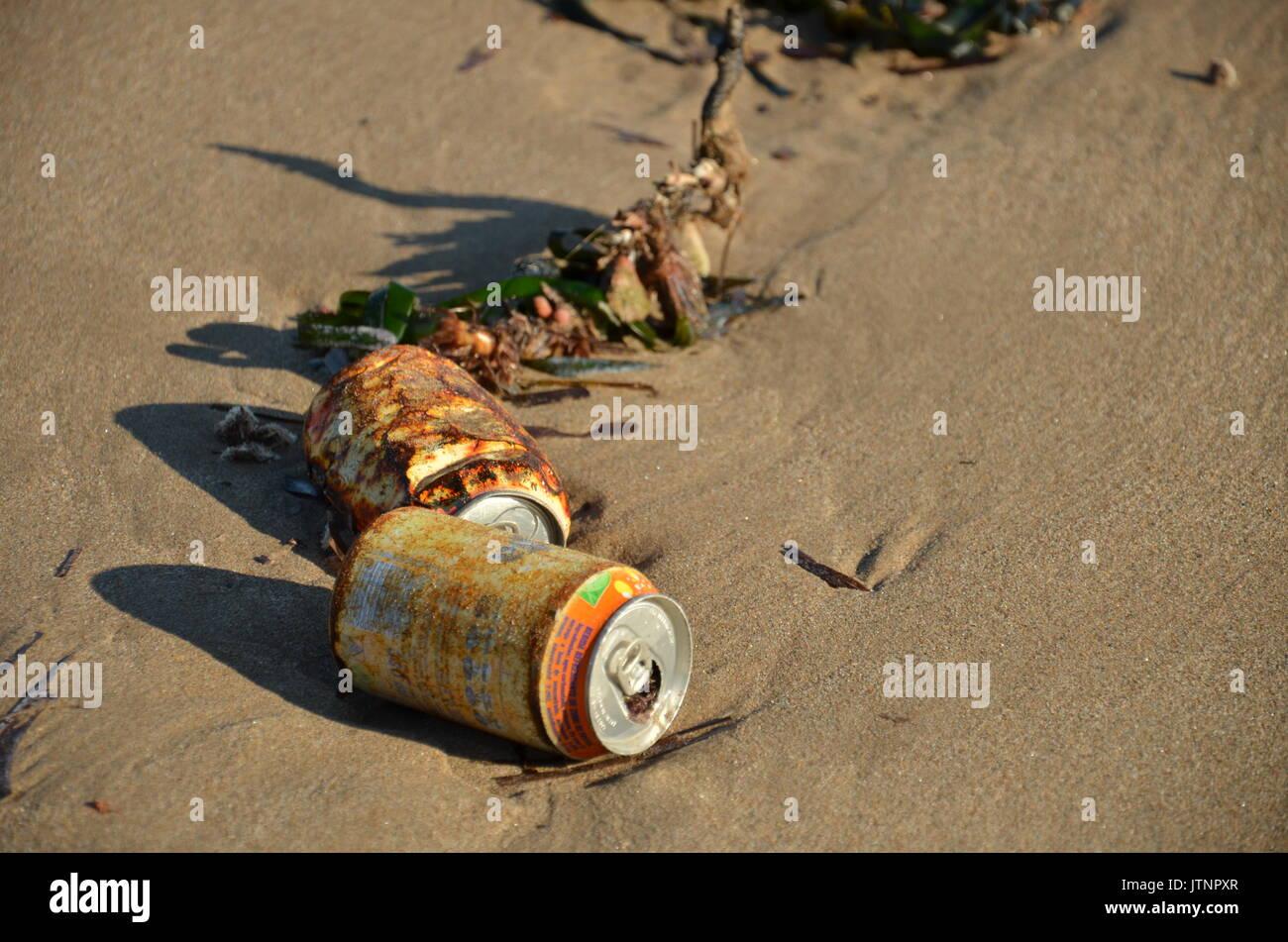 trash on a beach - Stock Image