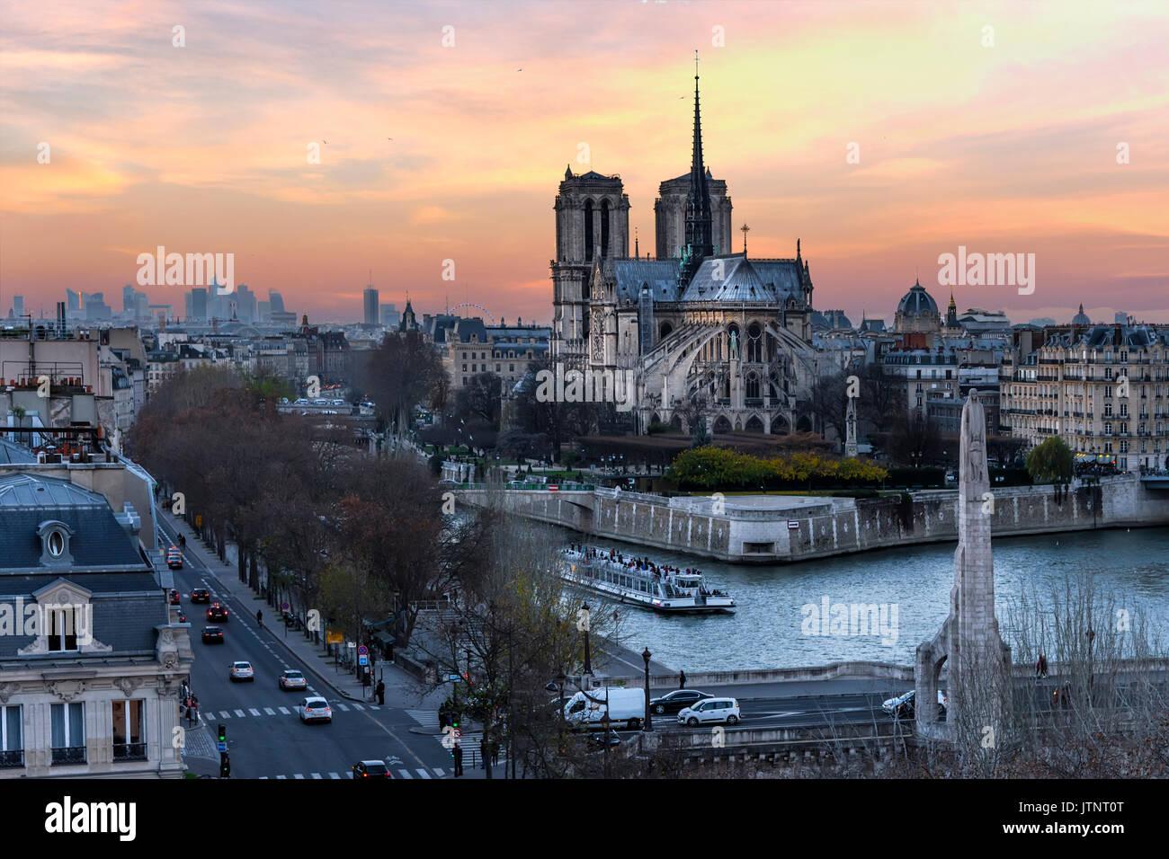 Notre Dame de Paris cathedral, Paris, France - Stock Image