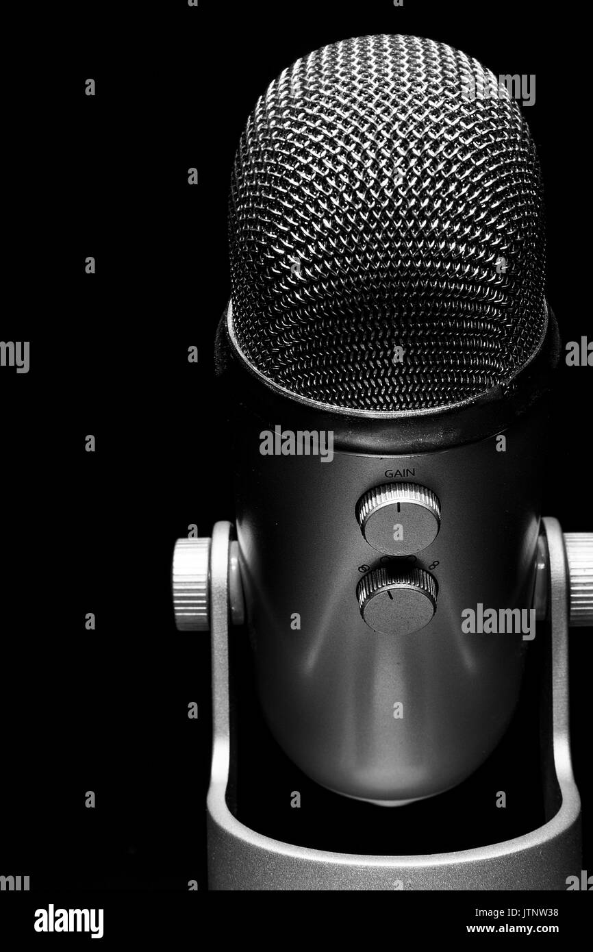 Modern microphone close up - Stock Image