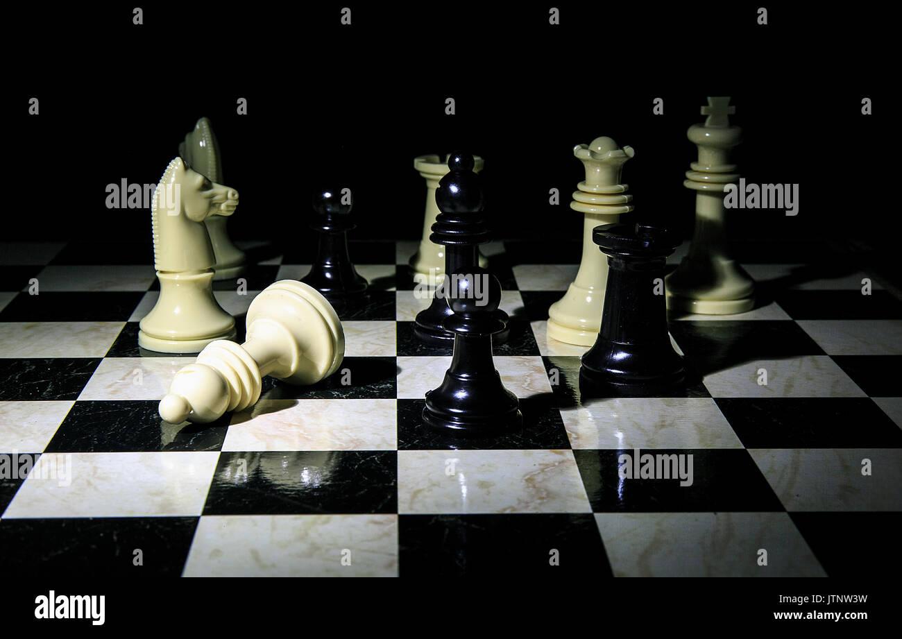 Chess board  close up photo - Stock Image