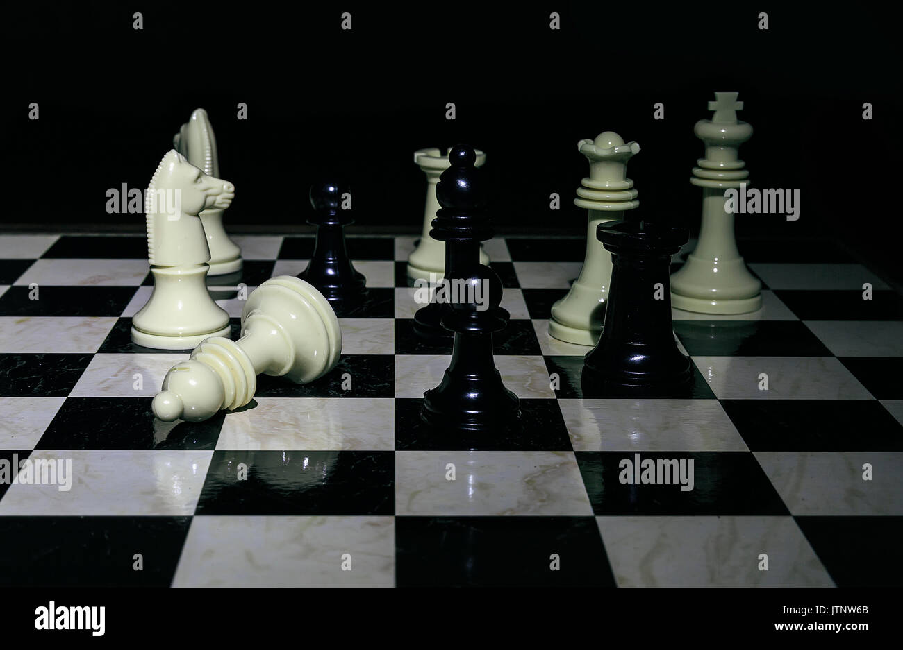 Chess board  black and white photo - Stock Image