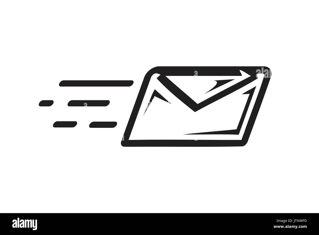 email envelope with motion lines, sending an email, icon design, isolated on white background. - Stock Image