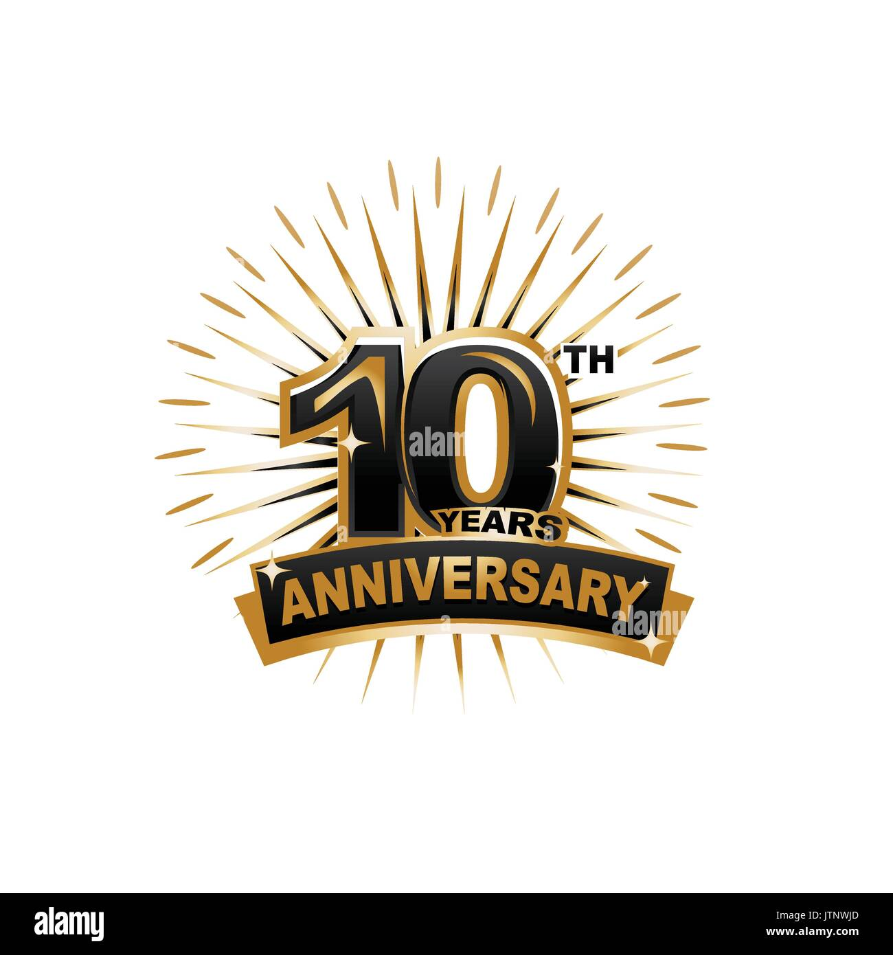 ten years anniversary, gold badge, illustration design, isolated on white background. - Stock Vector