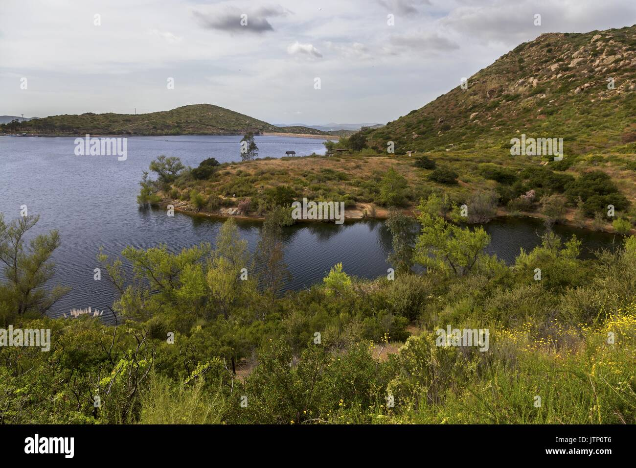 Shore of Lake Poway on Great Hiking Trail in San Diego County Inland 30 miles east of Pacific Ocean California USA - Stock Image