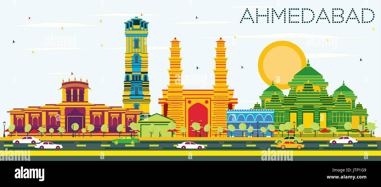 Ahmedabad Skyline with Color Buildings and Blue Sky. Vector Illustration. Business Travel and Tourism Concept with Historic Architecture. - Stock Vector