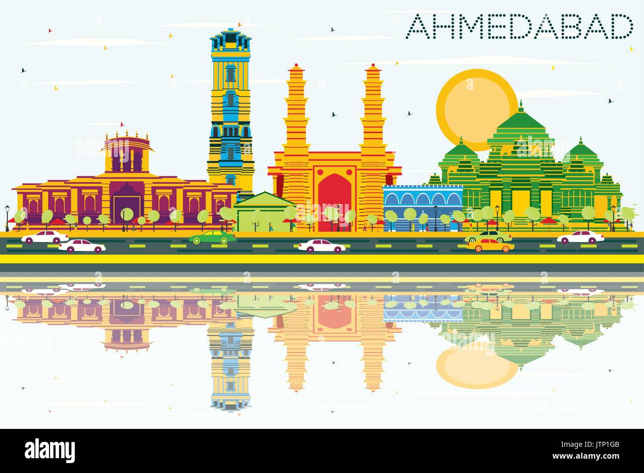Ahmedabad Skyline with Color Buildings, Blue Sky and Reflections. Vector Illustration. Business Travel and Tourism Concept with Historic Architecture. - Stock Vector