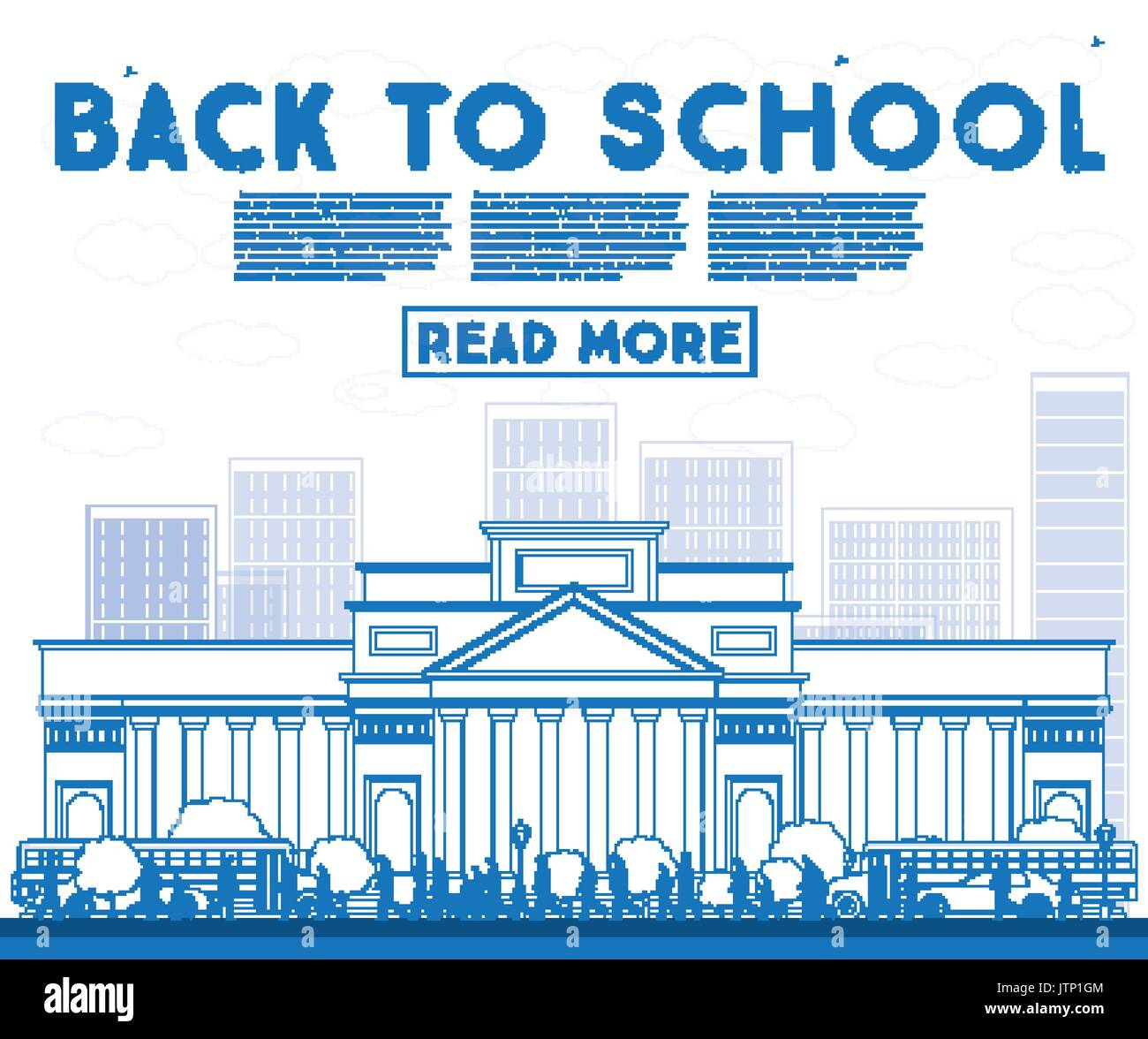 Outline Back to School. Banner with School Bus, Building and Students. Vector Illustration. - Stock Image