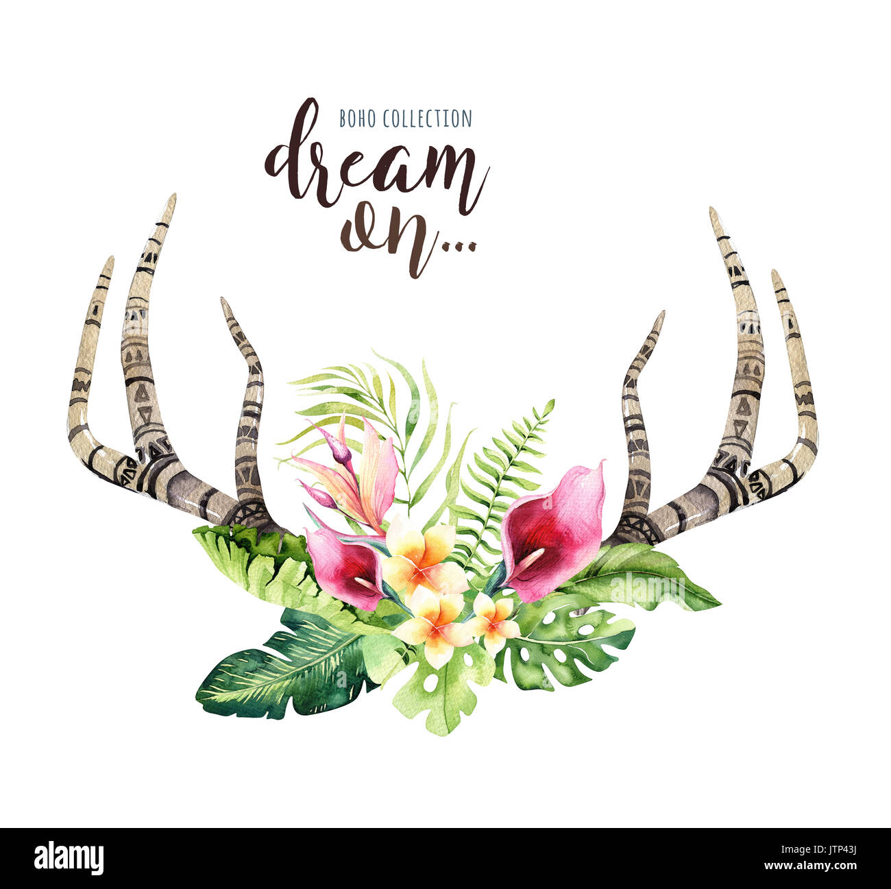 Hand drawn watercolor deer horns with tropical flower bouquets Stock ...
