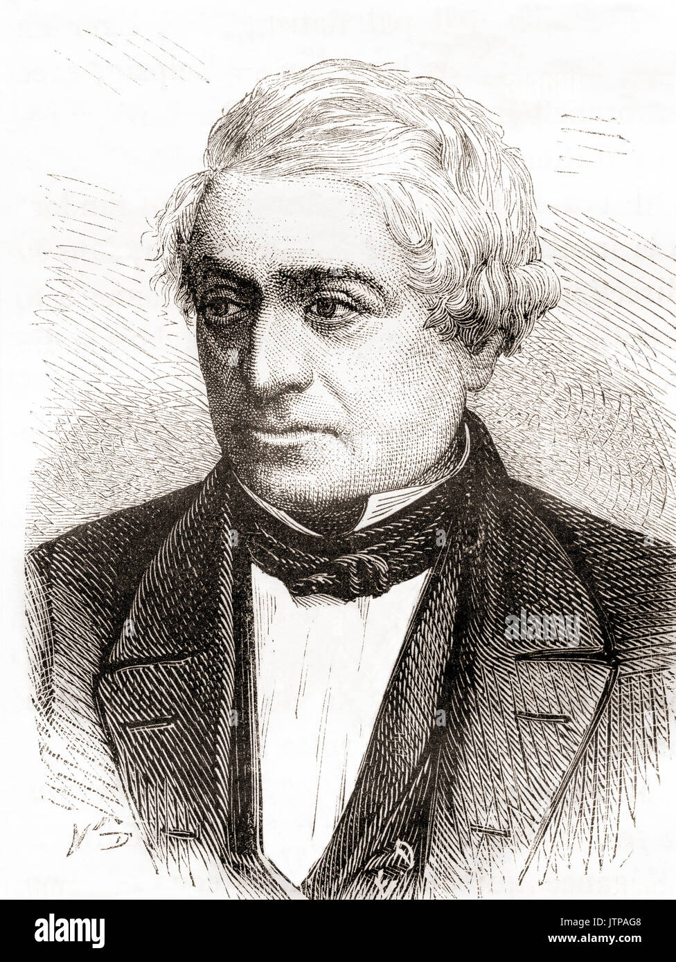 Paul Camille Denis, later von Denis, 1796 – 1872.  French engineer and railway pioneer.  From Les Merveilles de la Science, published 1870. - Stock Image
