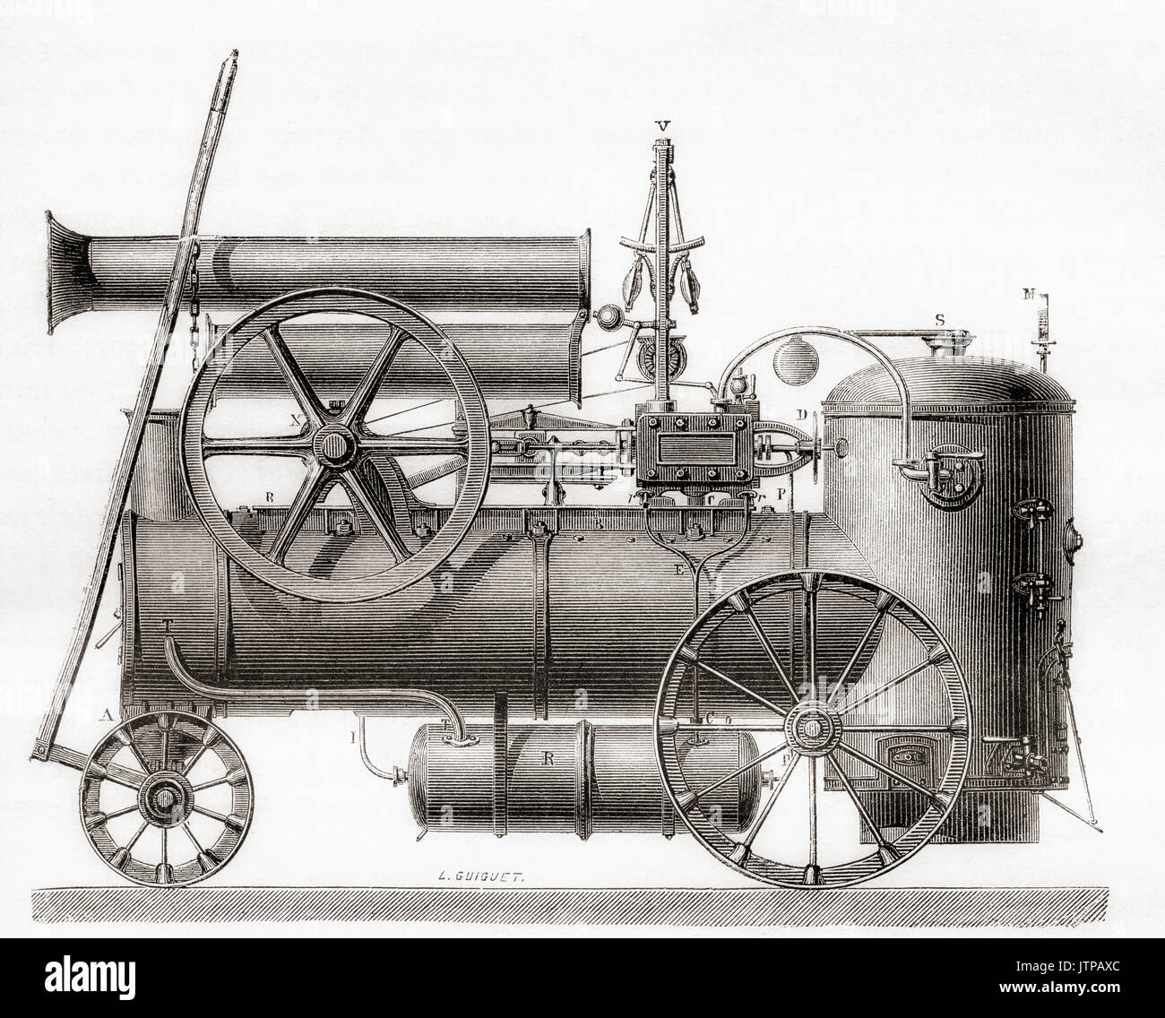 A portable steam engine built in France by the company M. Cail et Cie in the 19th century.  From Les Merveilles de la Science, published 1870. - Stock Image