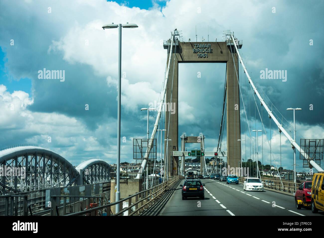 Traffic on the Tamar Bridge between Plymouth, Devon and Saltash, Cornwall, England, UK. - Stock Image