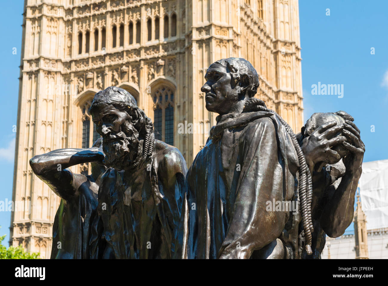 The Burghers of Calais statue sculpture bronze Auguste Rodin Victoria Tower Gardens Palace of Westminster Houses of Parliament 1884 - 89 - Stock Image