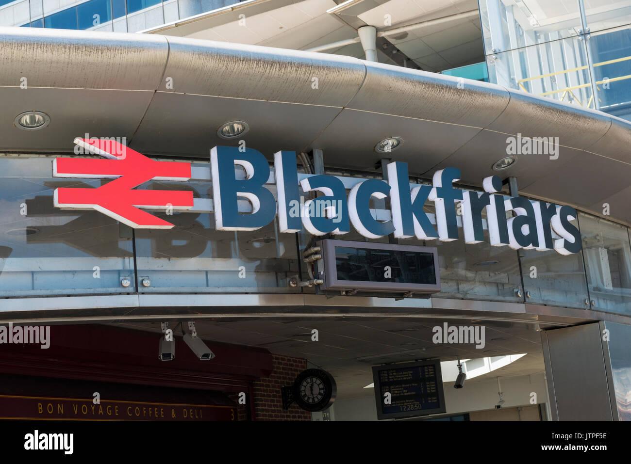 UK London City entrance Blackfriars Station National Rail logo sign signs railway - Stock Image