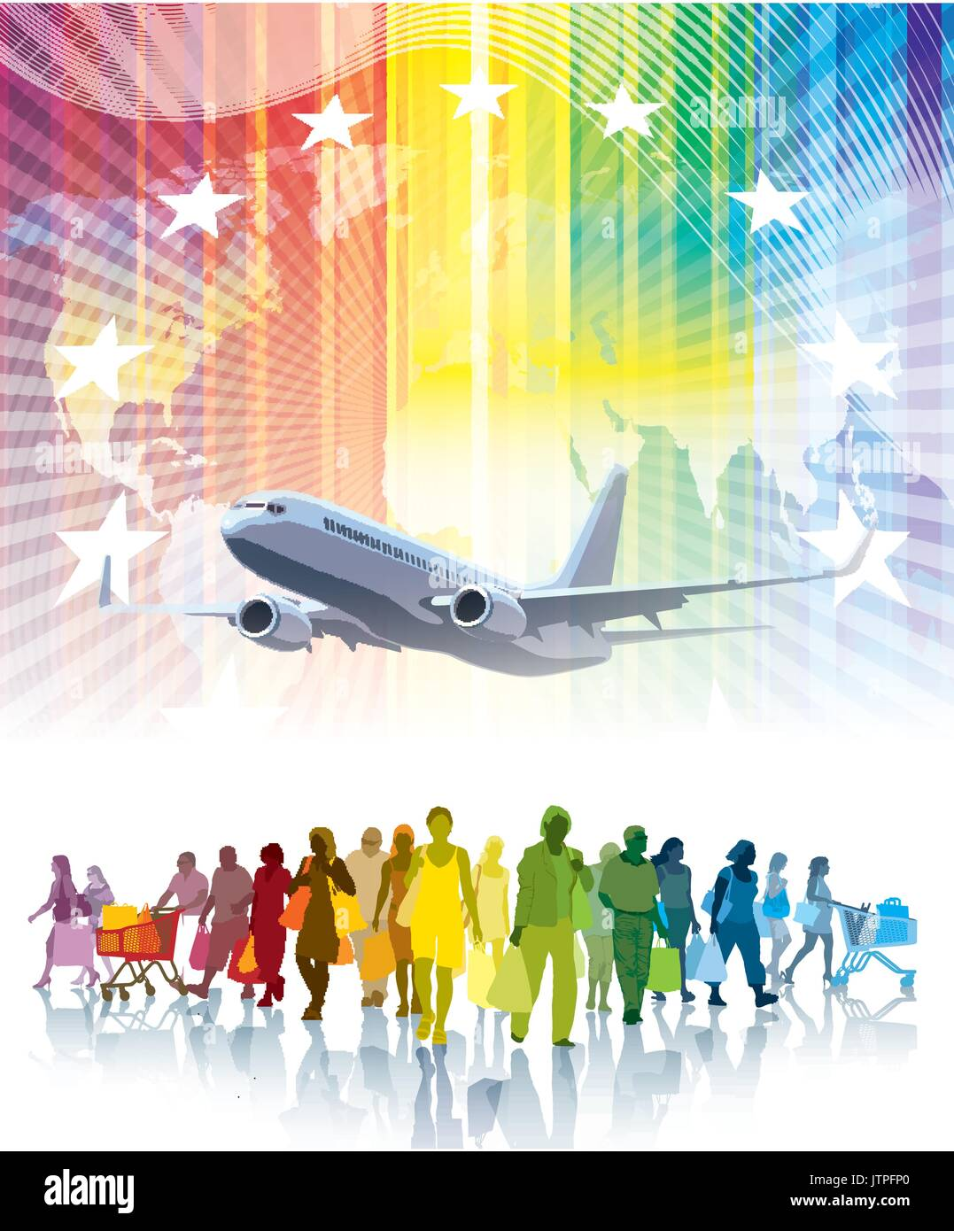 Colorful crowd of shopping people, flying airplane and a world map in the background. - Stock Vector