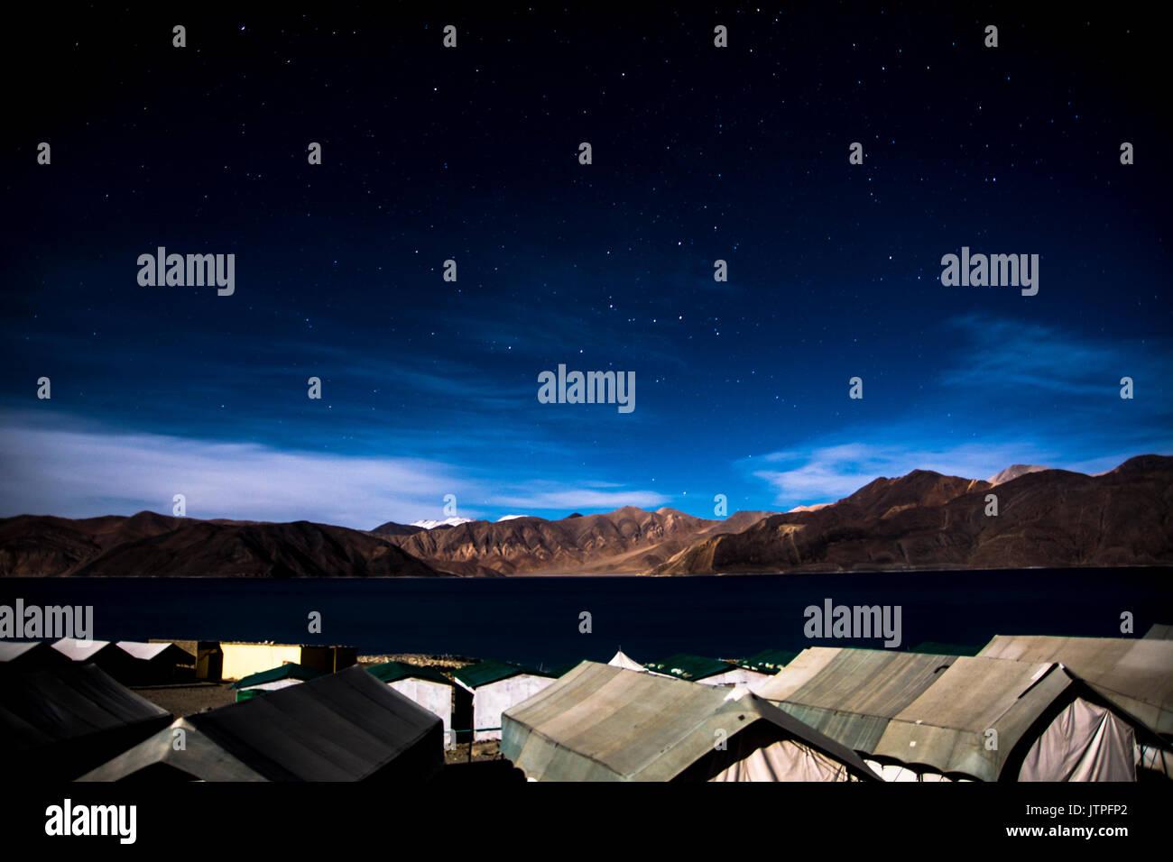 Night at Pangong Lake Stock Photo