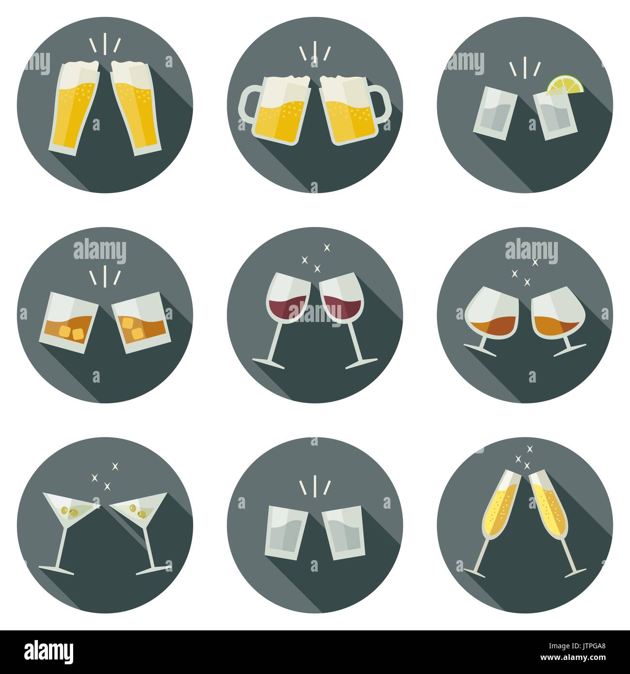 Clink glasses icons. - Stock Image