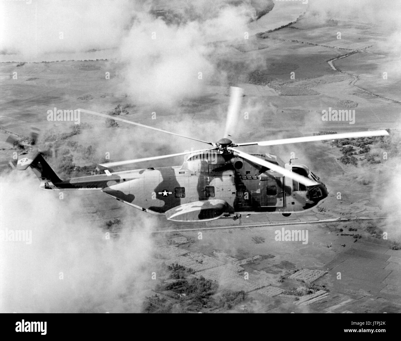 Air Force HH-3E Jolly Green Giant helicopters are used to rescue pilots downed in Vietnam or the South China Sea.  Flown by the 3rd Aerospace Rescue and Recovery Group, the rescue craft cruises at speeds up to 155 mph and is capable of in-flight refueling. - Stock Image