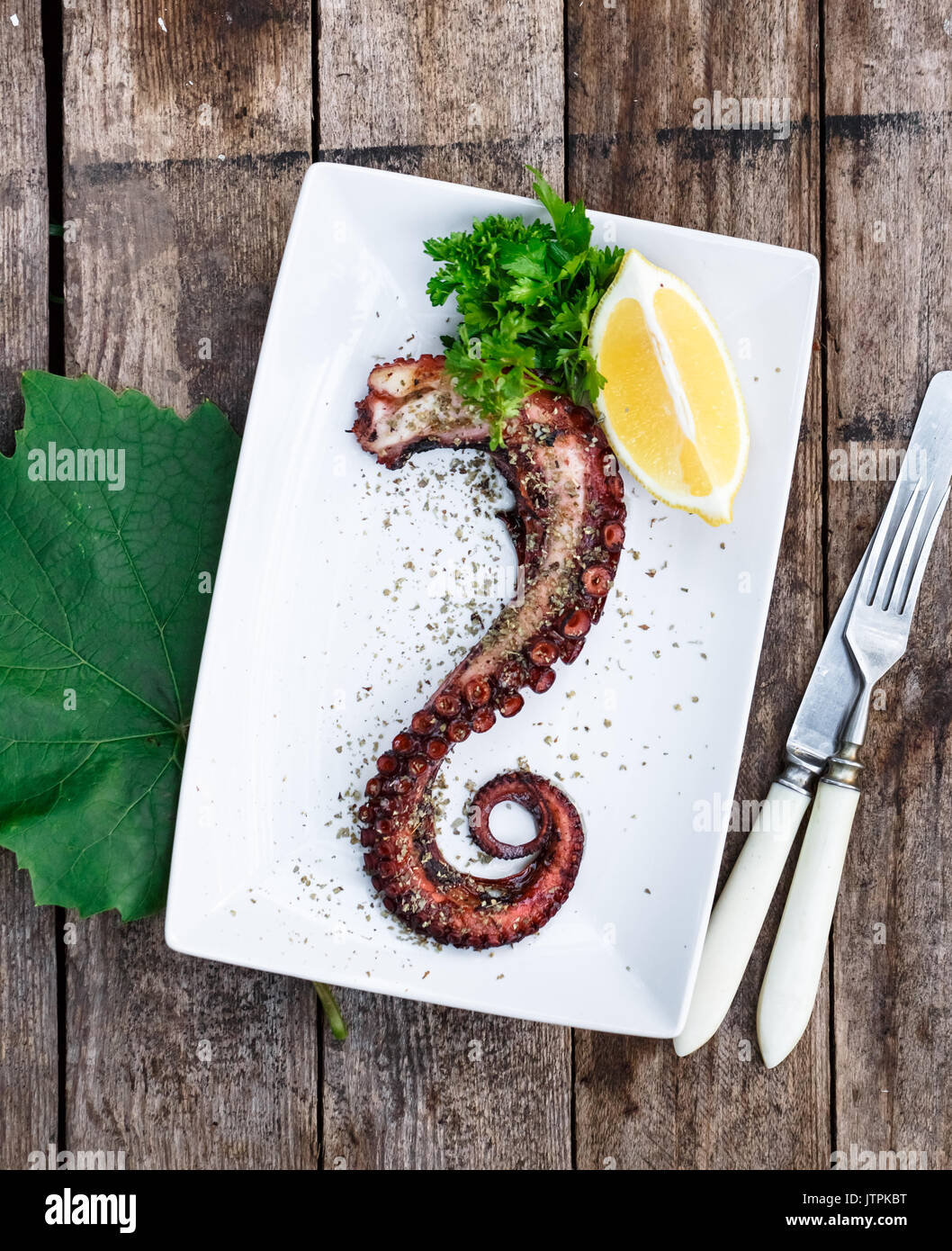 Served Octopus Tentacle on White plate with lemon and oregano - Stock Image