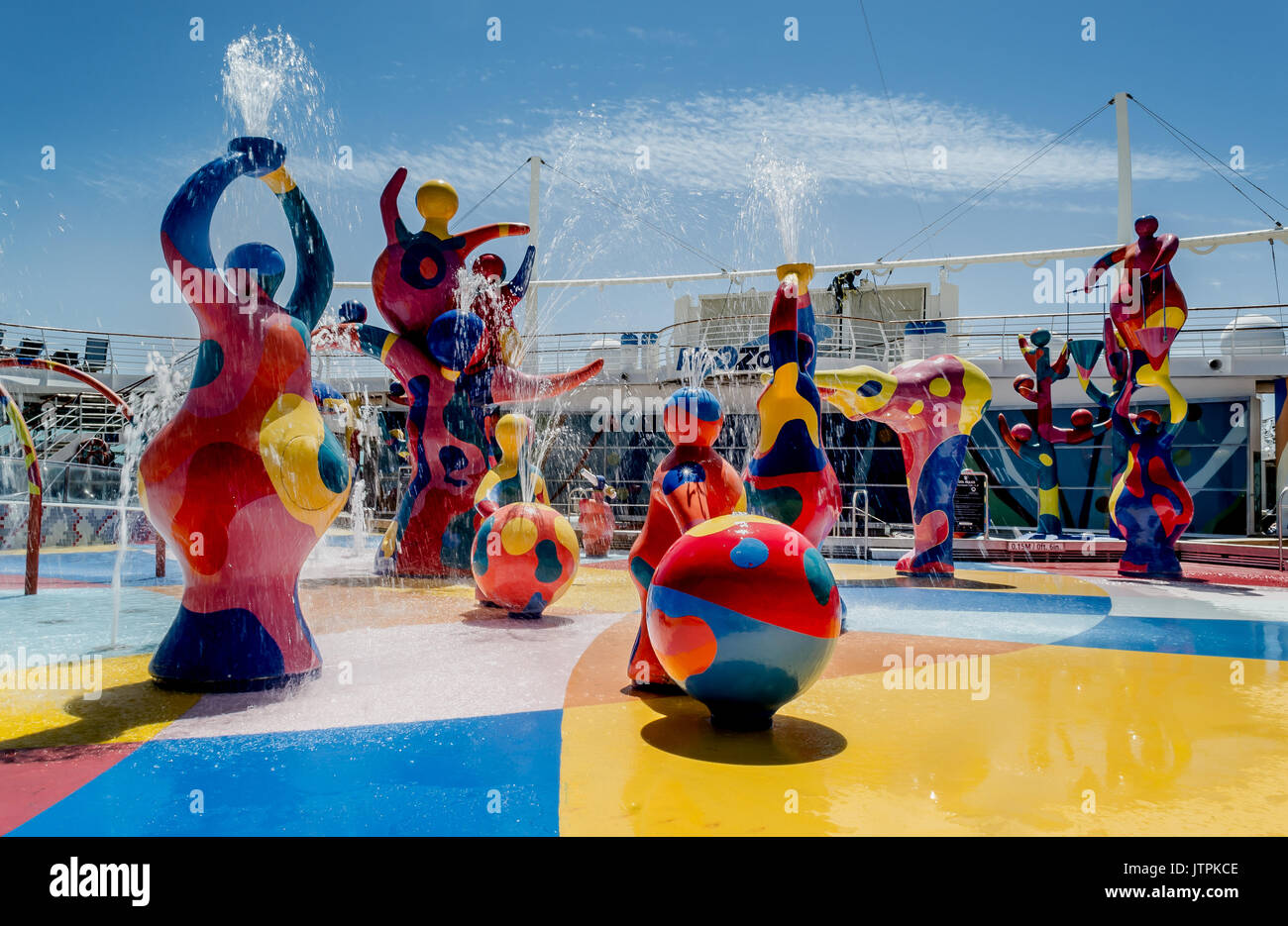 H2O Zone, Freedom of the Seas, Royal Caribbean International - Barcelona, Spain - 07 May, 2017: Colorful fountains of a waterpark for kids on a cruise - Stock Image