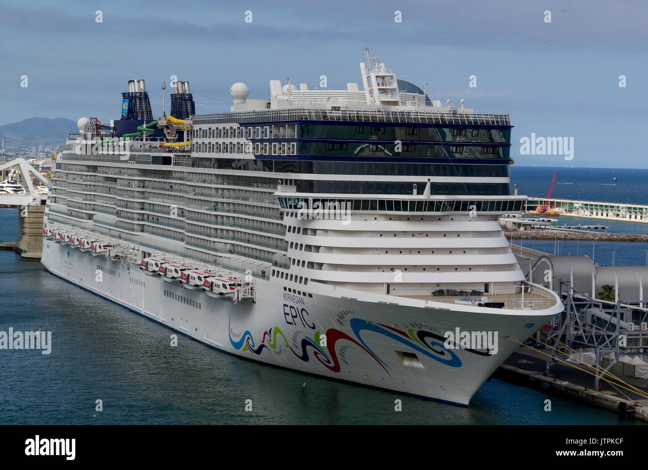 Norwegian Epic, Norwegian Cruise Line  - Barcelona, Spain - 07 May, 2017: Cruise ship is ready to leave for a 7 night Mediterranean journey. - Stock Image