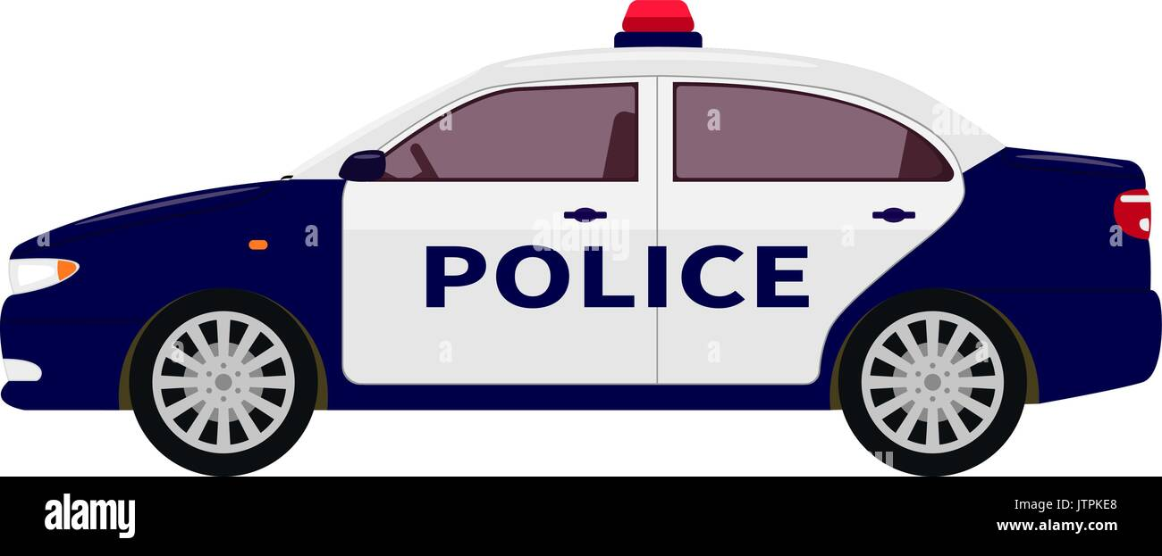 Vector illustration of a cartoon police car Stock Vector