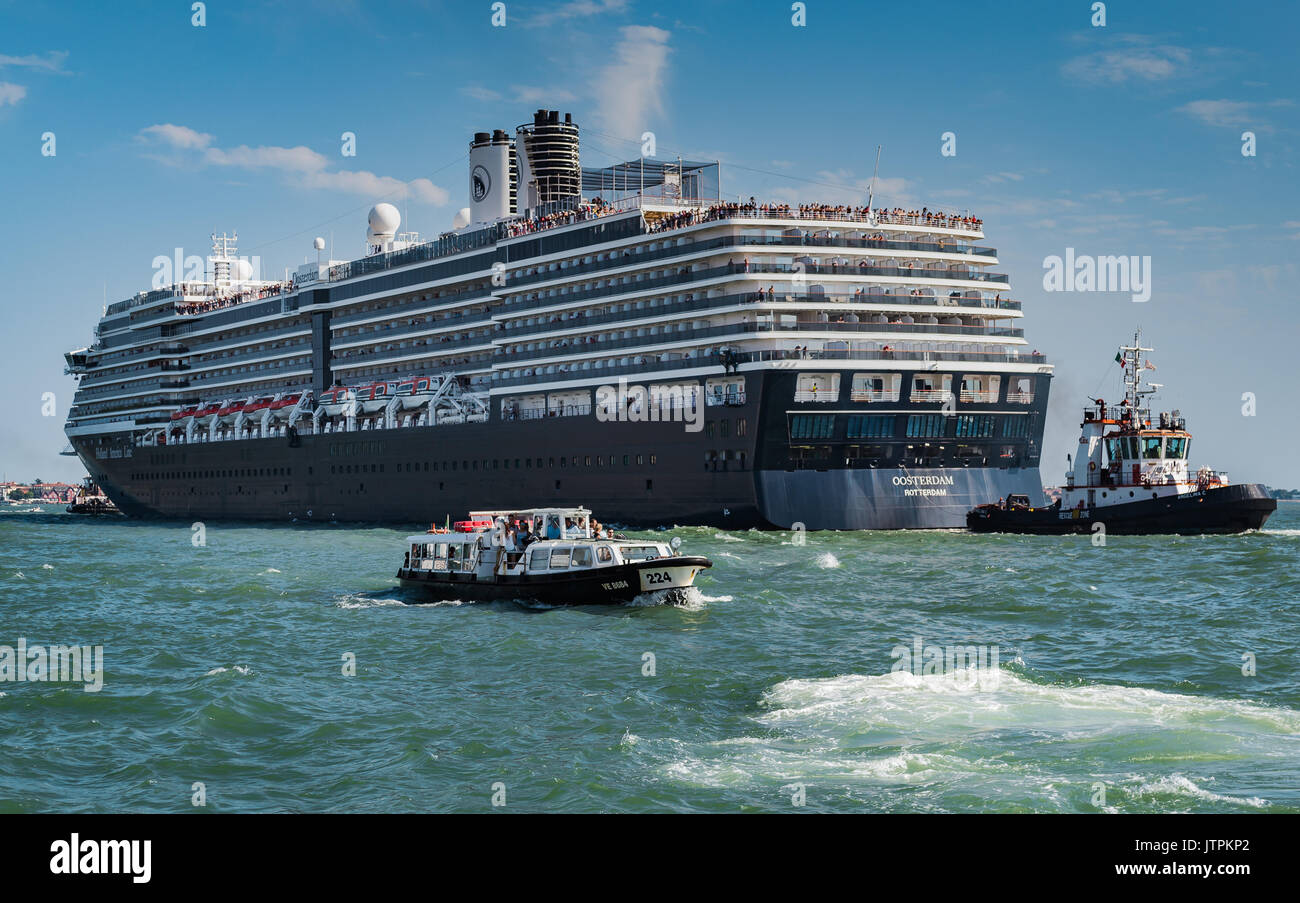 ms Oosterdam, Holland America Line -  Venice, Italy - 04 August, 2016: Cruise ship passing through the Grand Canal Stock Photo