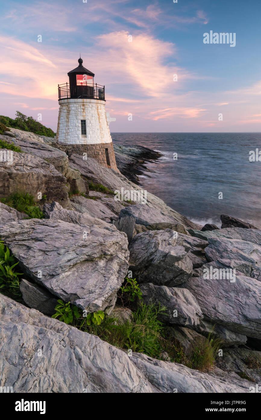 Castle Hill Light at Sunset, Newport, Rhode at Island - Stock Image