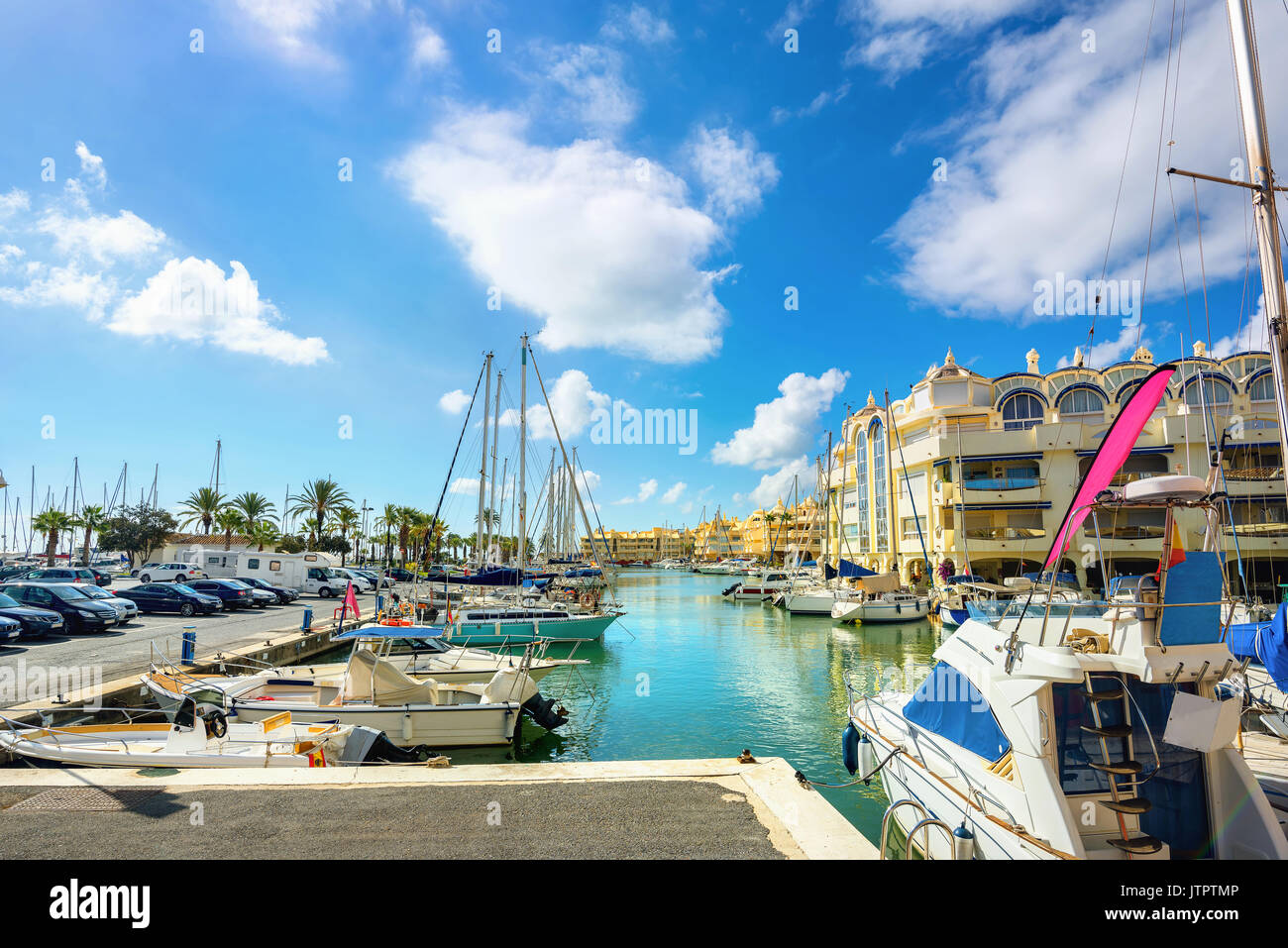 View of harbour Puerto Marina in Benalmadena. Costa del Sol, Malaga province, Andalusia, Spain Stock Photo