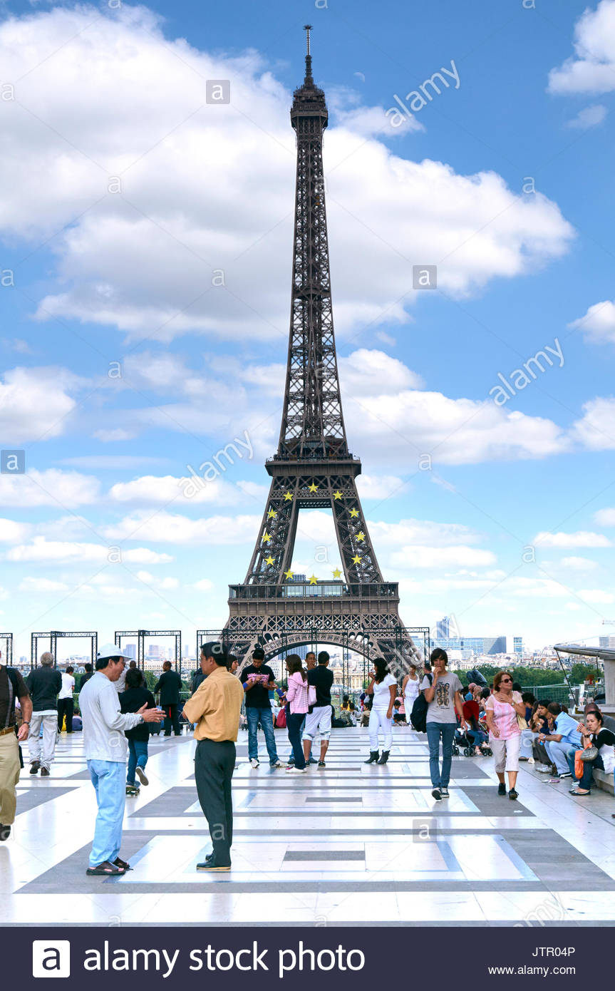 Groups of people on the Trocadero in Paris France Europe - Stock Image