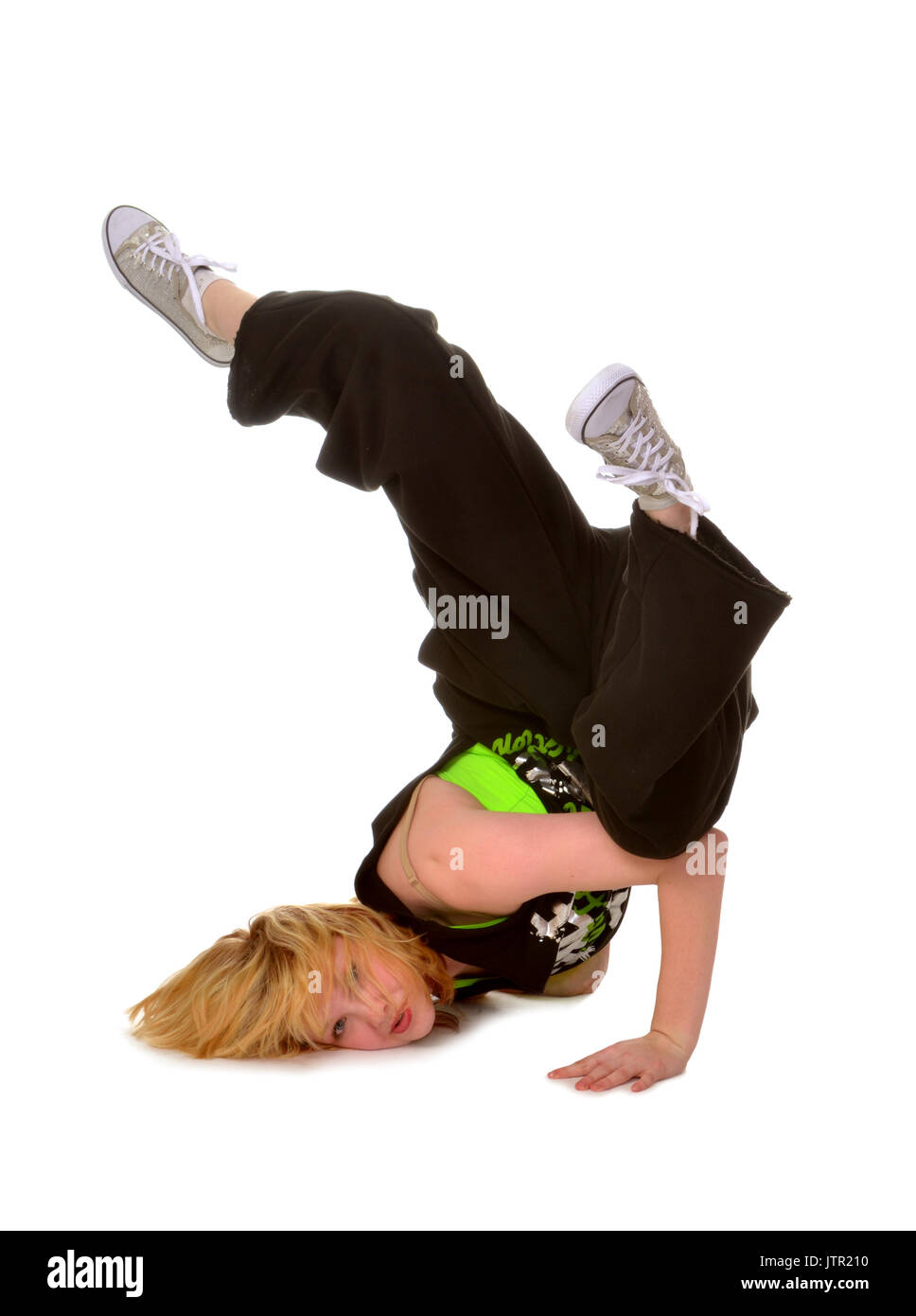 307b29492adc Hip Hop or Break Dancing Girl Performs Face Stand Stock Photo ...