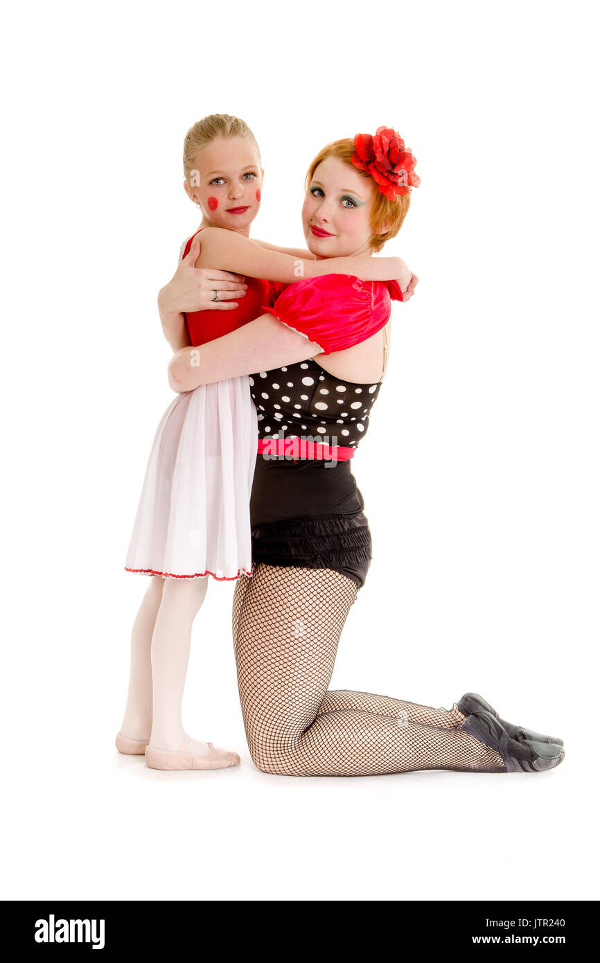 A Mother and Young Daughter are Dancers in the circus - Stock Image