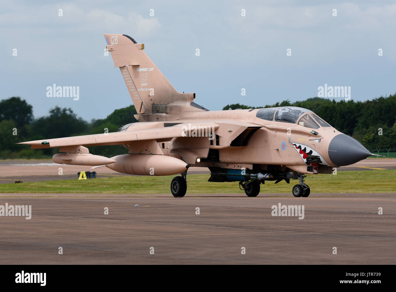 RAF Panavia Tornado GR4 in Gulf War desert pink special colour scheme commemorating 25 years operations in the area. Nicknamed Pinky. Space for copy - Stock Image