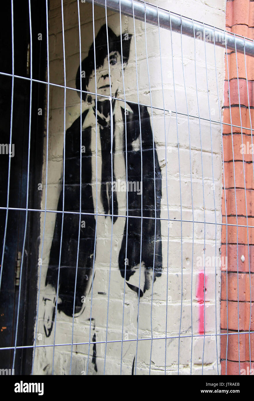Stencil of Quentin Crisp by street artist STEWY - Stock Image