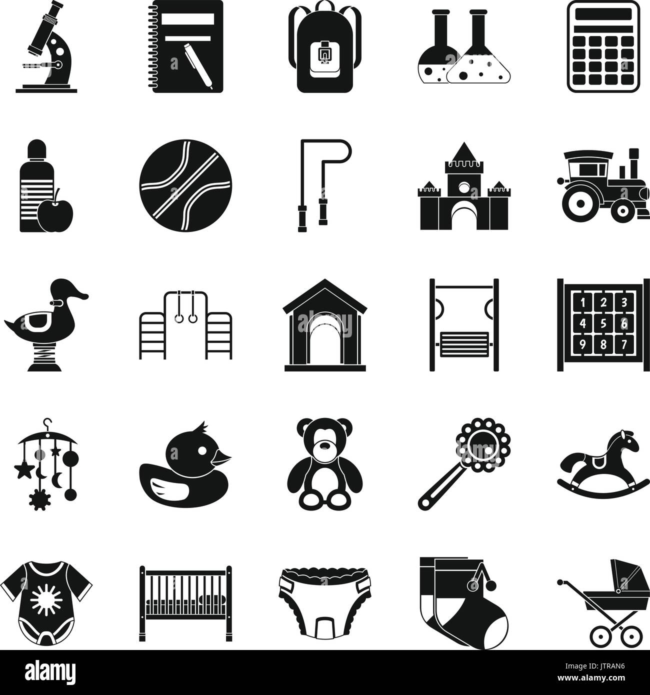Scholar icons set, simple style - Stock Vector