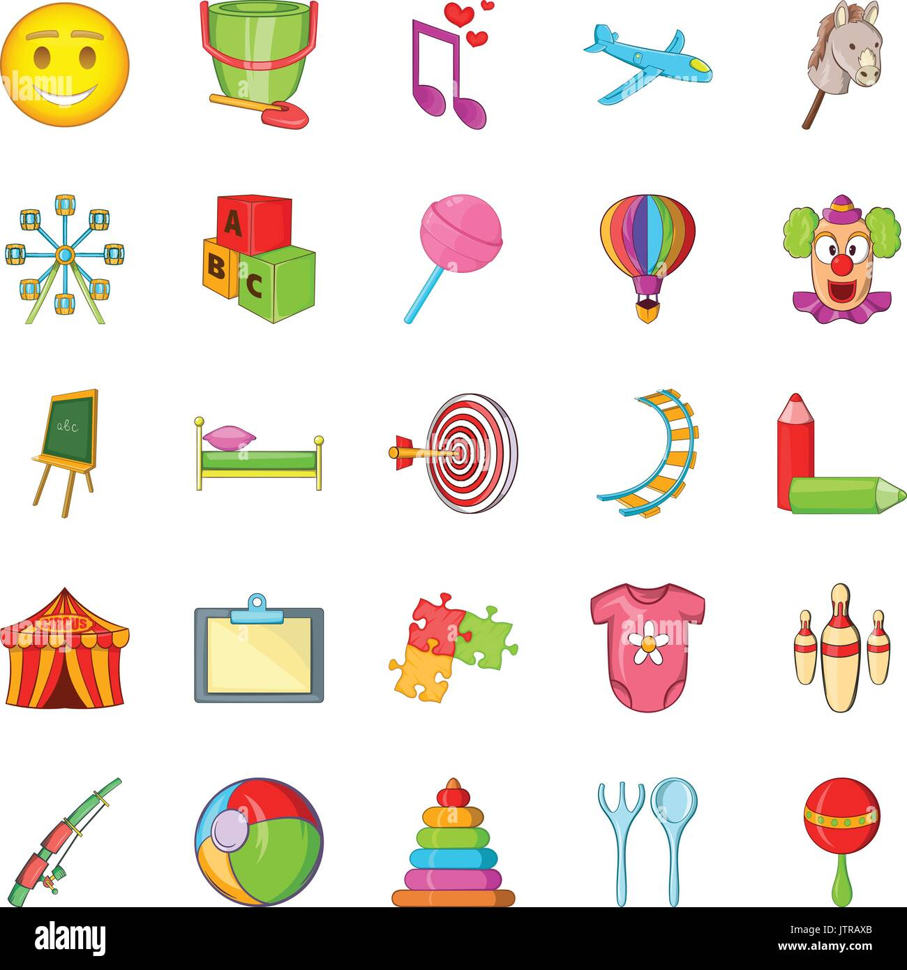 Schoolchildren icons set, cartoon style - Stock Vector