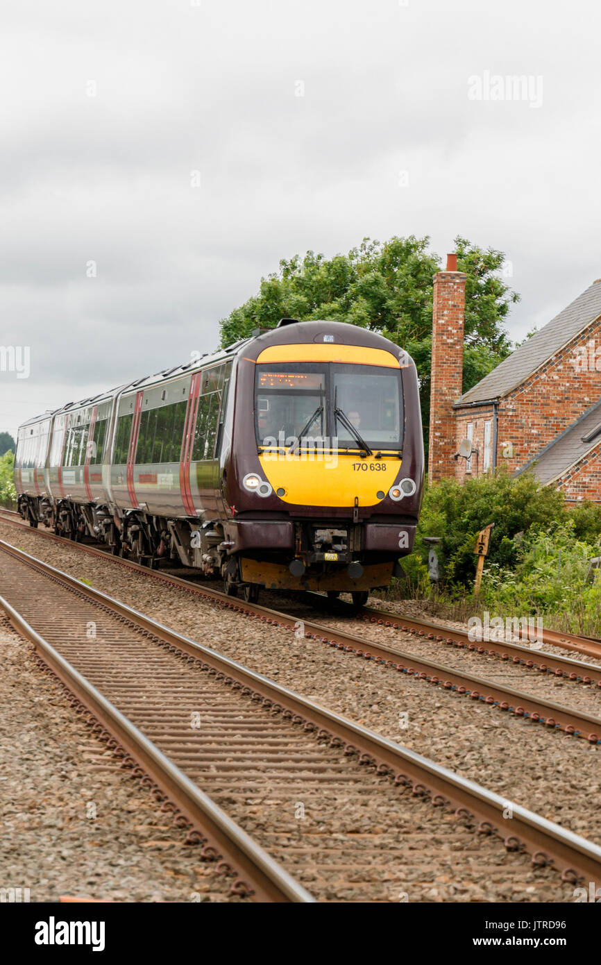 Cross Country Central Train travelling from between Oakham and Melton Mowbray England UK Stock Photo