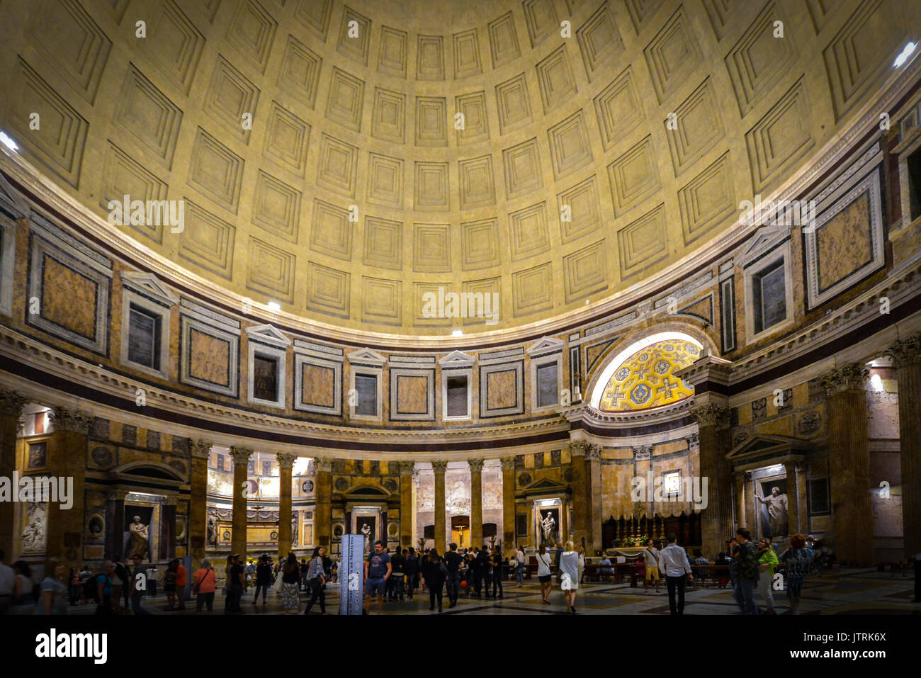 Interior shot in the evening at the ancient Pantheon in Rome Italy Stock Photo