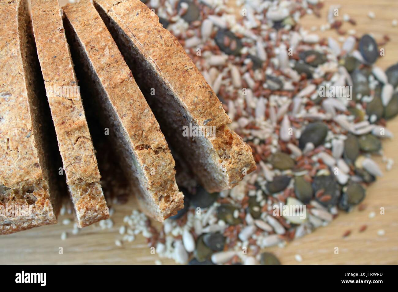 Homemade wholegrain bread with different seeds Stock Photo