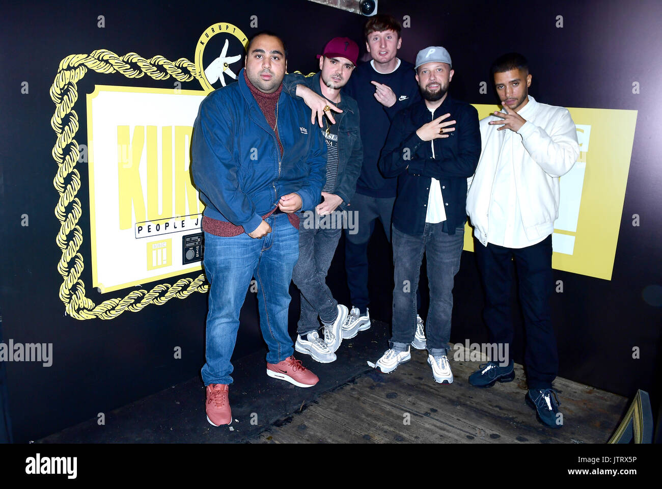 Left To Right Asim Chaudhry Allan Mustafa Steve Stamp Hugo Chegwin And Daniel Sylvester Woolford Attending The BBC3 Launch Of People Just Do Nothing At