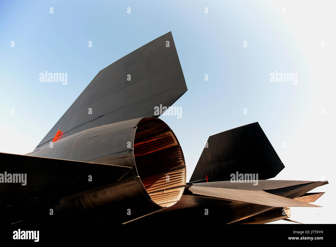 Close up shot of  a black jet fighter plane - Stock Image