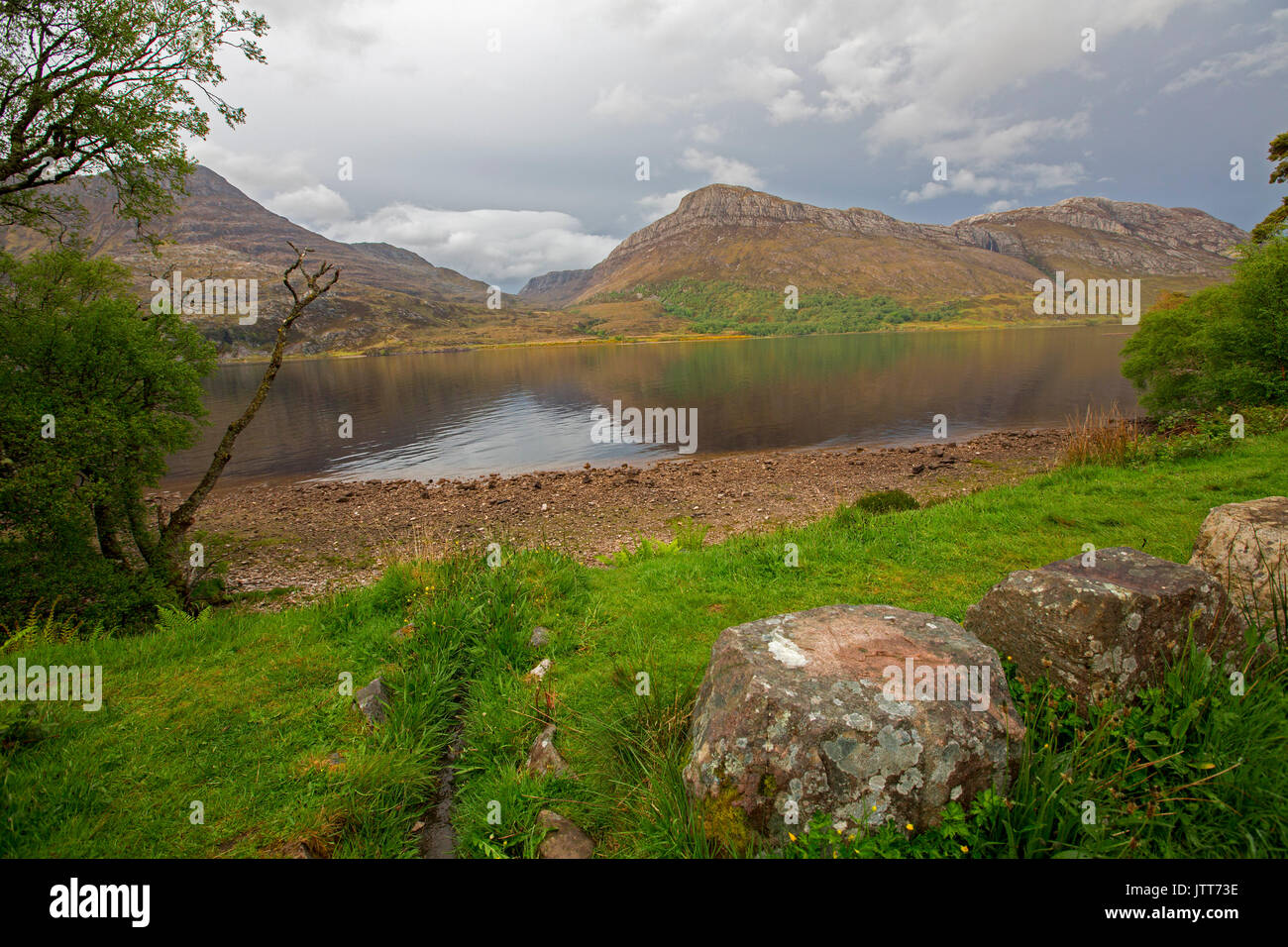 Landscape dominated by Loch Maree and mountains in Scotland - Stock Image