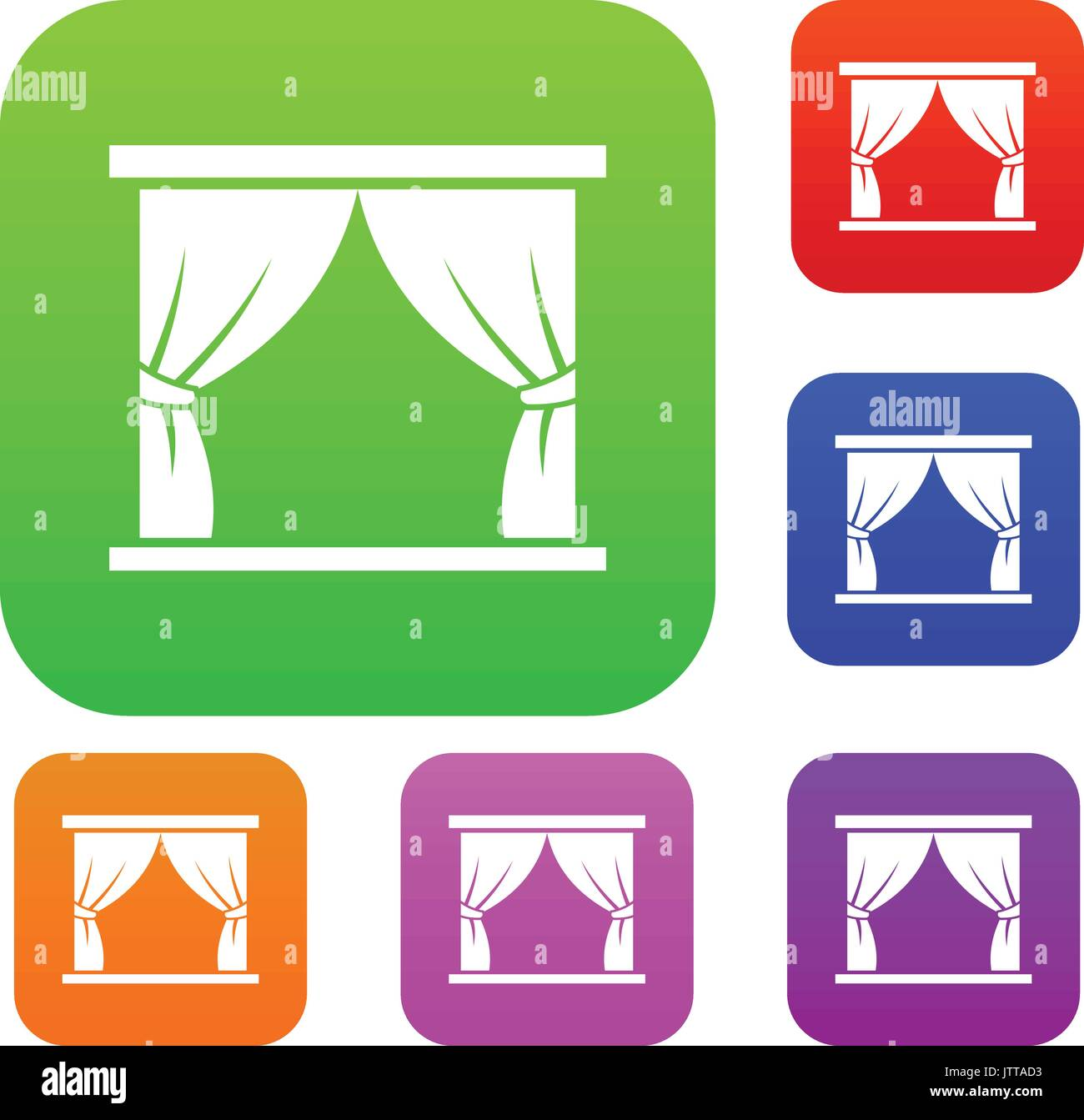 Curtain on stage set collection - Stock Vector