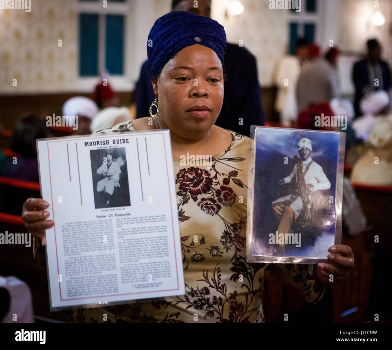 Moorish woman at Temple No. 9 in Chicago, Illinois. - Stock Image