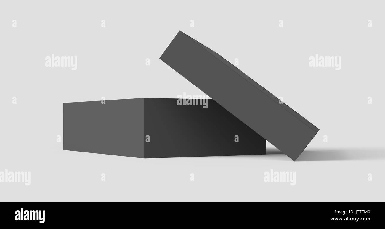 flat black box mockup blank box template isolated on grey in 3d
