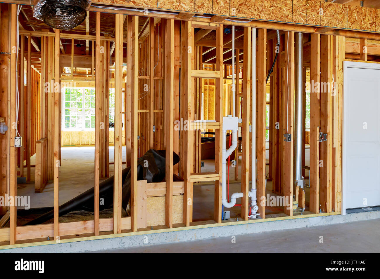 The frame building or a house with basic electrical wiring Stock ...