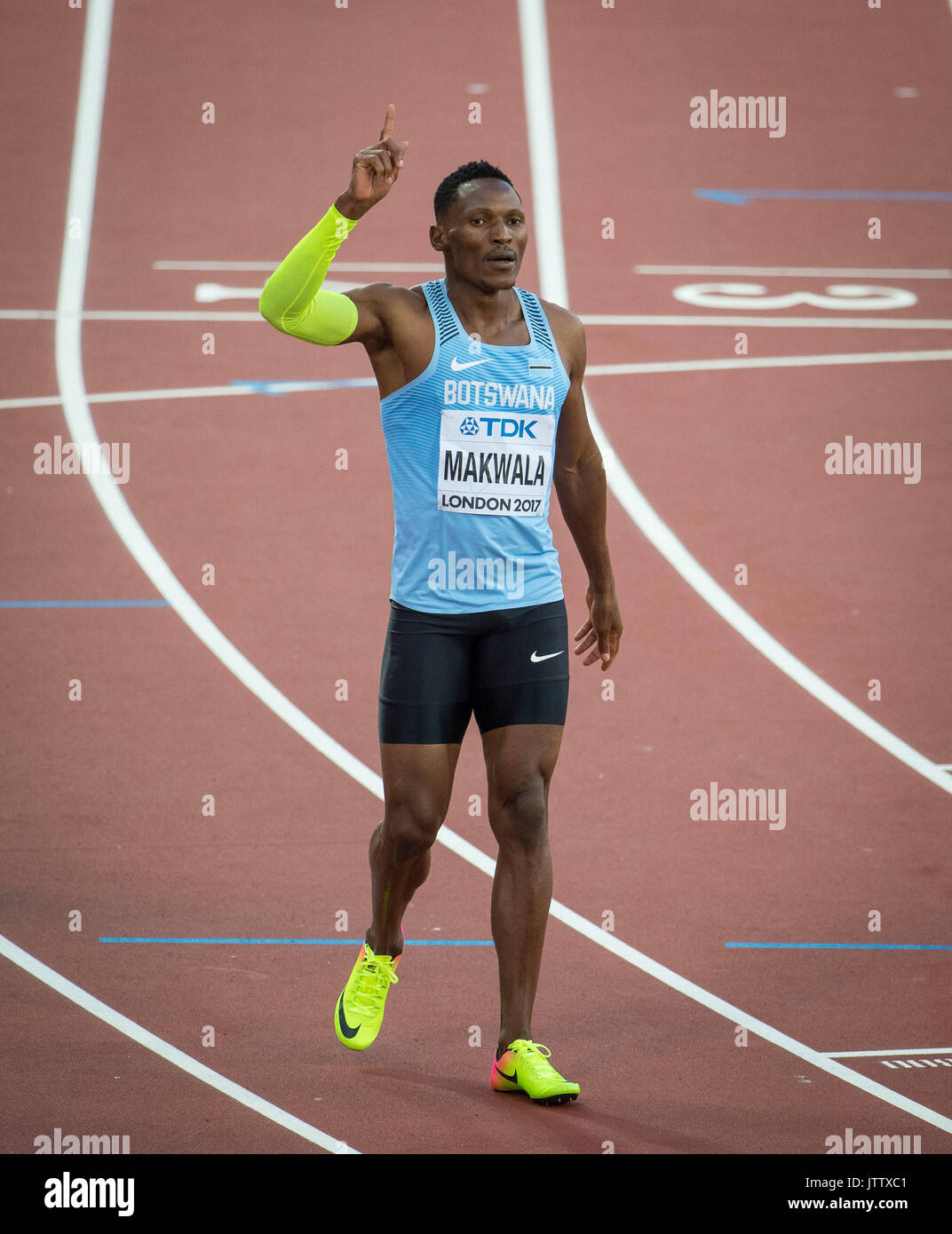 Isaac MAKWALA of Botswana celebrates his 400m heat win (44.30) during the IAAF World Championships Athletics 2017 Day Three at the Olympic Park, London, England on 6 August 2017. Photo by Andy Rowland. - Stock Image