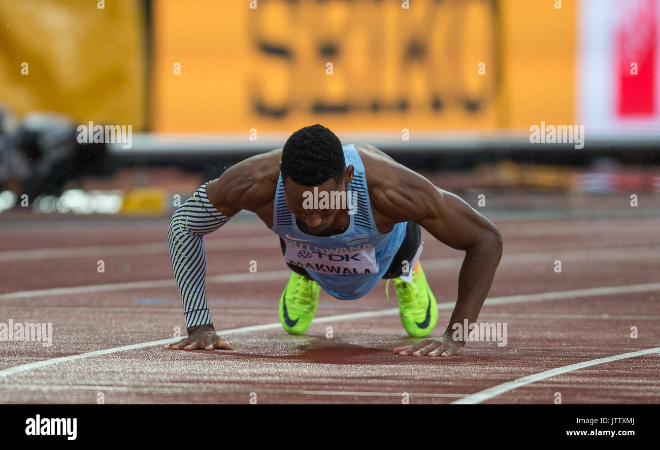 Isaac MAKWALA of Botswana celebrates and drops to the floor to do push ups after running 20.20 in a time trial to make it to the Semi Final of the Mens 200m a day after being refused entry to run the 400m during the IAAF World Athletics Championships Day 6 at the Olympic Park, London, England on 9 August 2017. Photo by Andy Rowland. - Stock Image