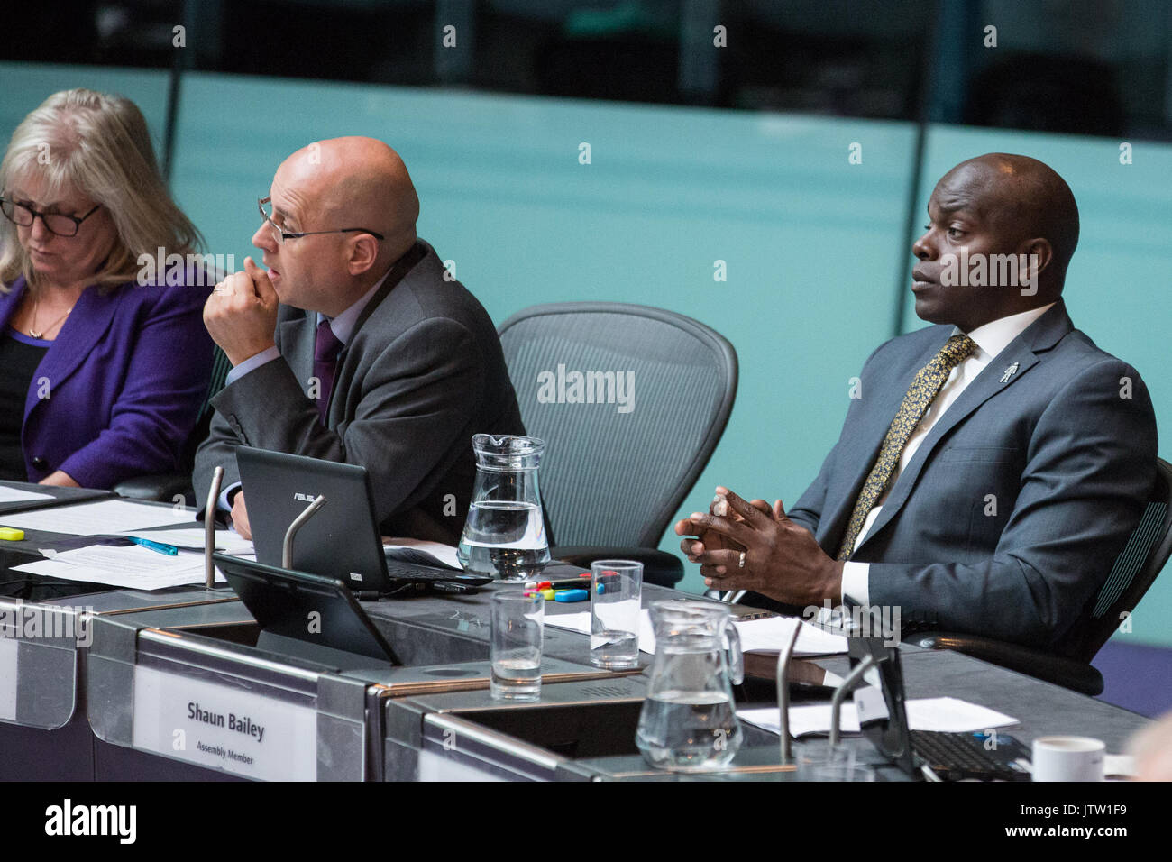 London, UK. 10th August, 2017. London Assembly Members Susan Hall, Keith Prince and Shaun Bailey listen to Mayor of London Sadiq Khan responding to questions during Mayor's Question Time at City Hall. Among topics discussed were: acid attacks, social housing, expenditure on fire and police services, 4G coverage on underground trains and noise from overnight underground trains. Credit: Mark Kerrison/Alamy Live News - Stock Image